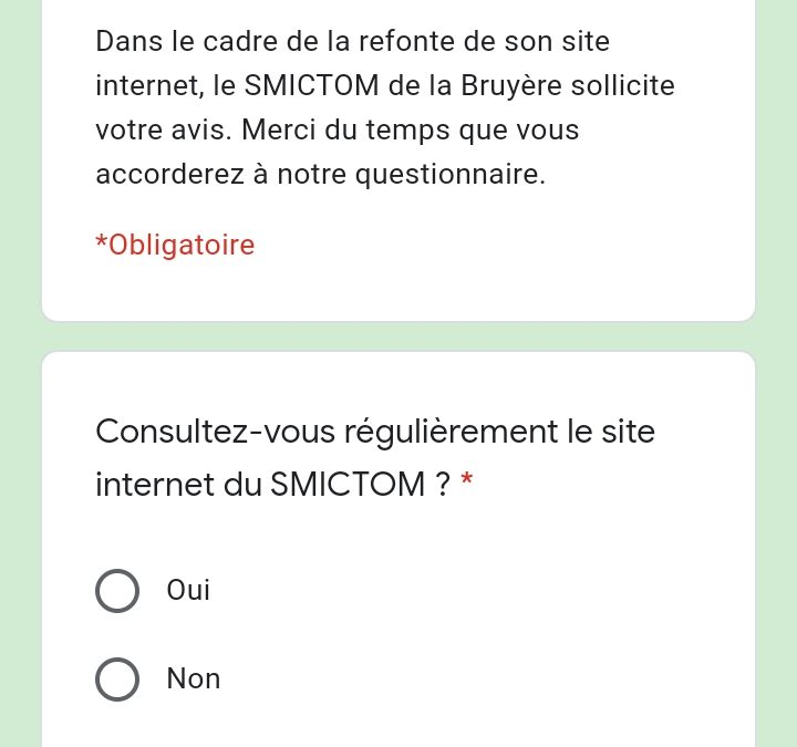 ENQUÊTE USAGERS – SITE INTERNET SMICTOM DE LA BRUYERE