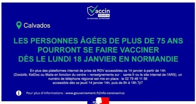 Ouverture des prises de rendez-vous pour la vaccination des personnes âgées de plus de 75 ans
