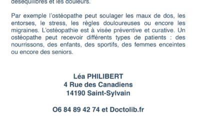 NOUVELLE OSTEOPATHE à Saint-Sylvain !
